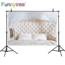 Funnytree blanco escenario estudio de fotografía vintage cabecero pared de ladrillo cama Foto fondo photophone photocall photozone