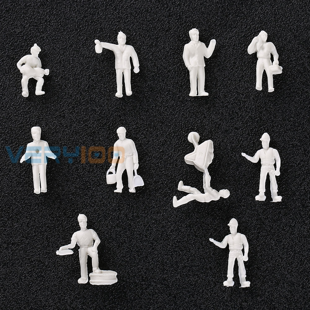 20PCS 1:87 Model Train layout unpainted White figures Railway Workers HO scale