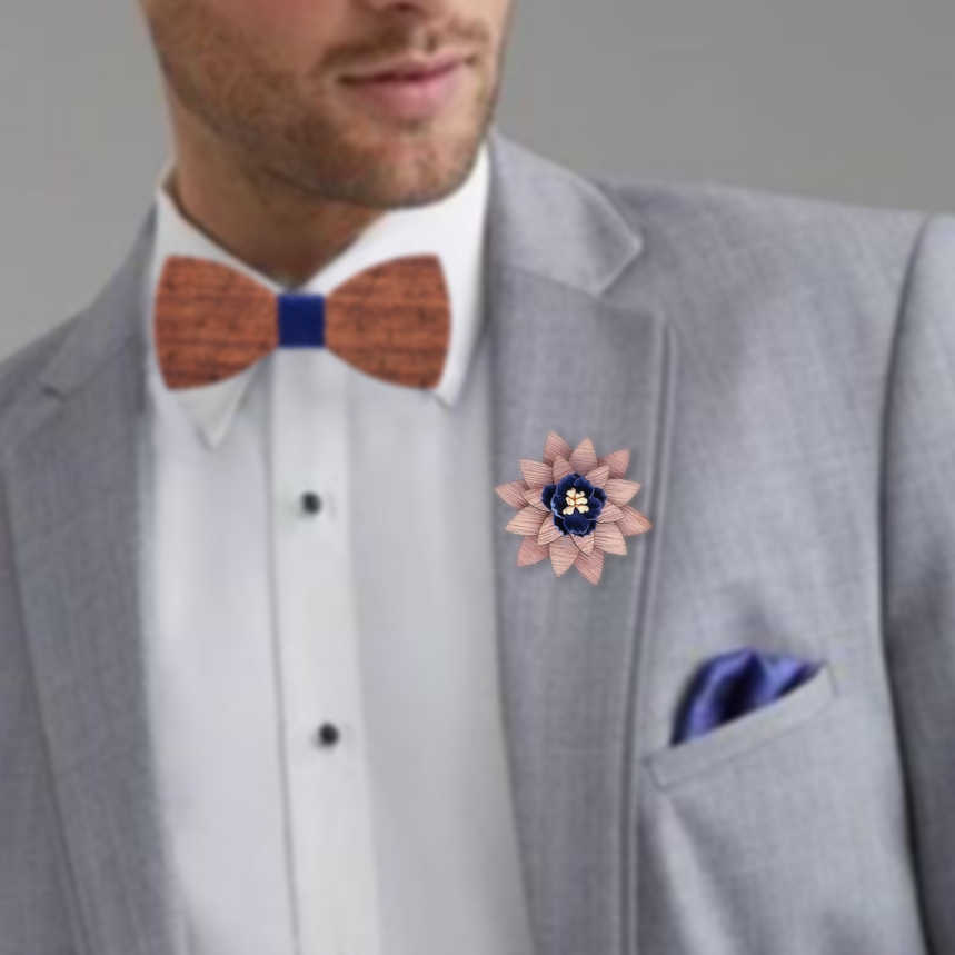 Мужские деревянные цветочные лацканы Брошь булавка ручной работы нагрудная булавка для мужчин Свадебный костюм украшение бутоньерка корсаж