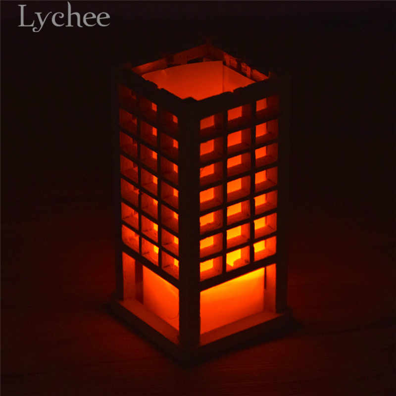 Lychee Japanese Style Wooden Lantern Model Mini Dollhouse Decorations Zen Garden Sand Tray Ornaments