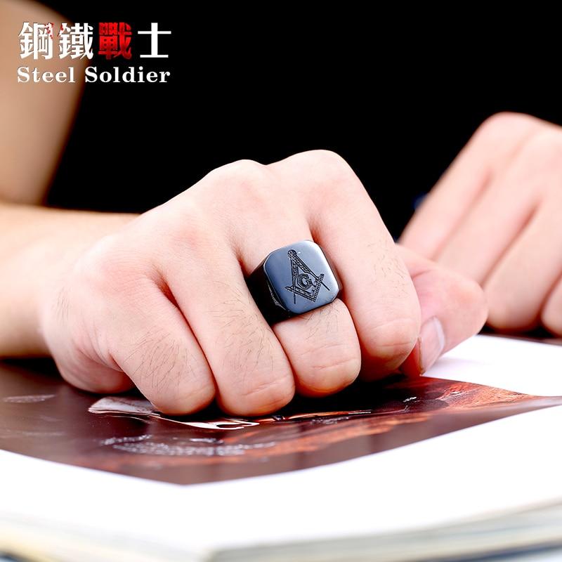 stalen soldaat nieuwe stijl roestvrij staal vrijmetselaars ring voor - Mode-sieraden - Foto 5