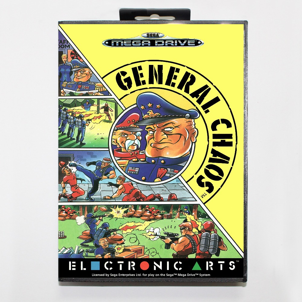 General Chaos Game Cartridge 16 bit MD Game Card With Retail Box For Sega Mega Drive For Genesis