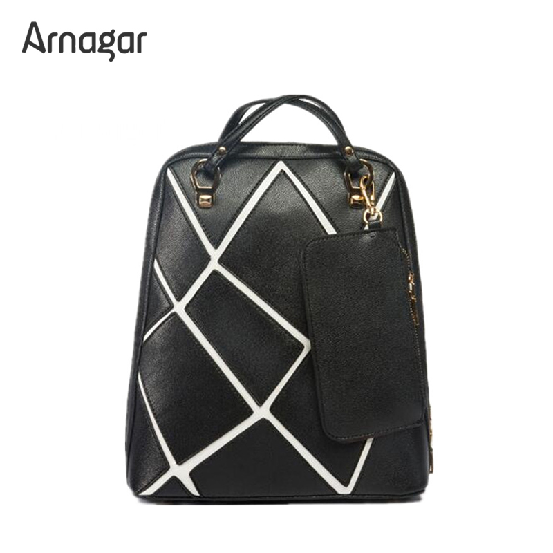 Arnagar leather backpack women bag ladies black female backpack bag fashion laptop backpack school bags for teenagers girl hot sale women s backpack the oil wax of cowhide leather backpack women casual gentlewoman small bags genuine leather school bag