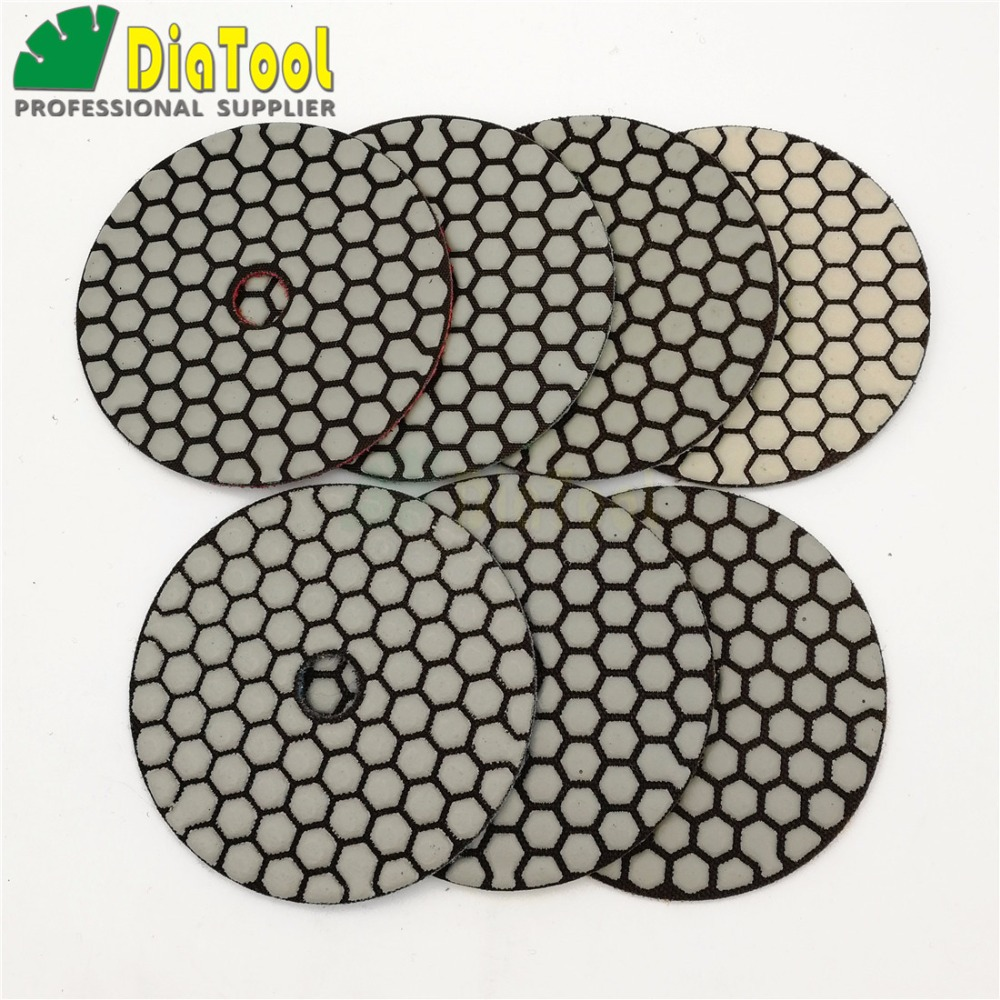 DIATOOL 7pcs/set 4inches B Dry Diamond Polishing Pads DIA 100MM Resin Bond Diamond Flexible Diamond Sanding Disc