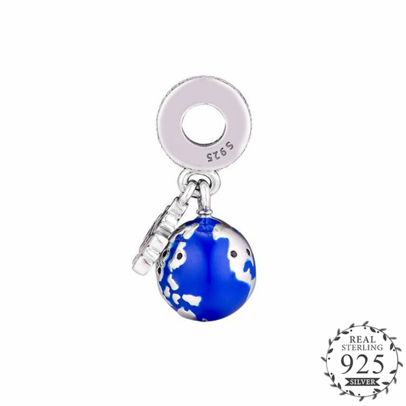 2018 Winter Blue Enamel Mouse Globe Charm Fits Pandora Bracelets Bangles Charms Silver 925 Original 2018 Dangle Beads DIY Making