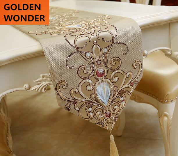 Luxury European Style Embroidery Table Runners Elegant Home Decoration Wide Runner Yellow and Blue