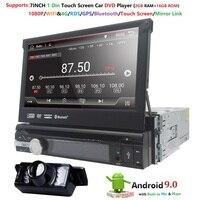 Универсальный 1 din Android 9,0 4 ядра автомобильный DVD плеер gps Wi Fi BT Радио BT 2 Гб Оперативная память 16 Гб ROM16GB 4G SIM сети Рулевое колесо RDS