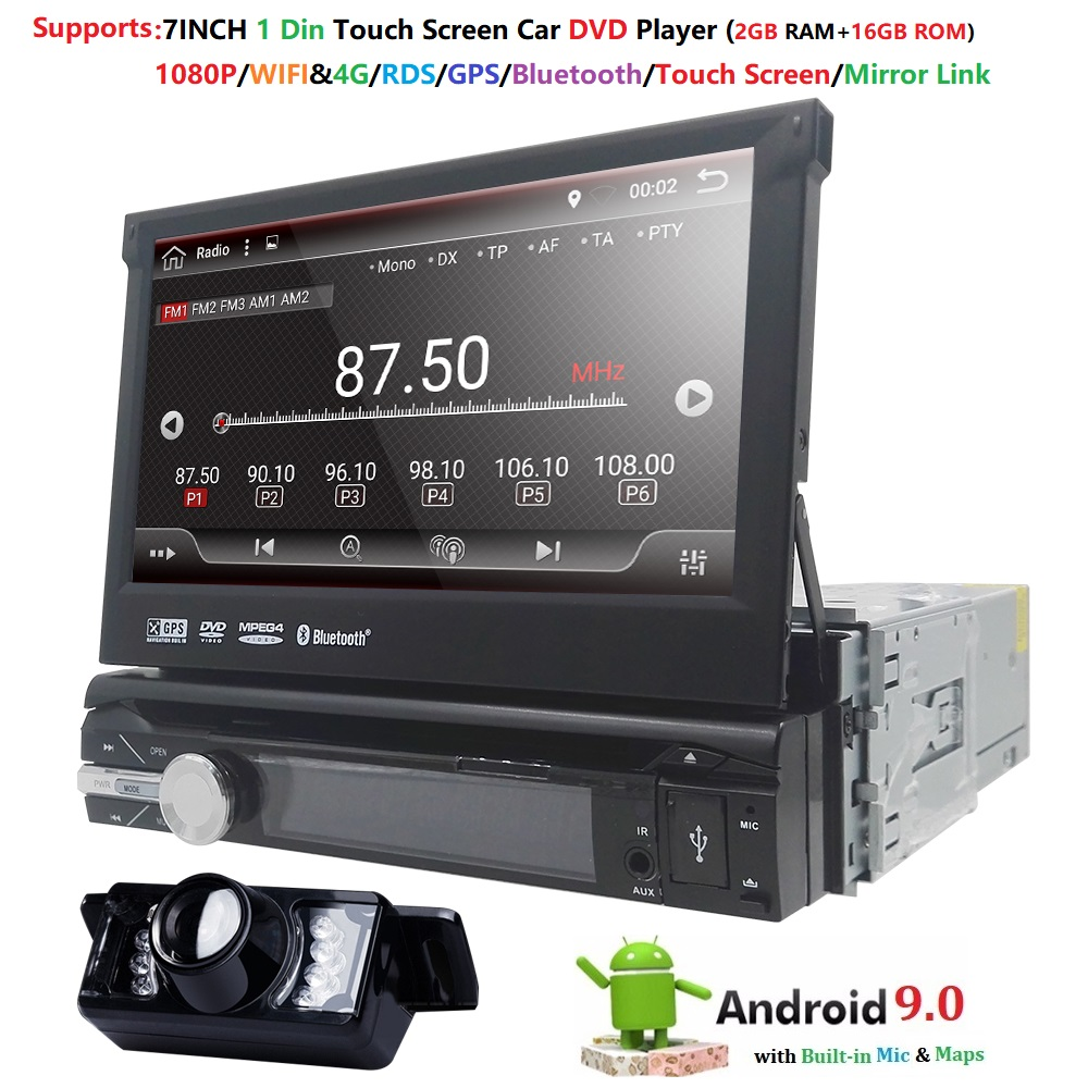 1 din Android 9.0 Quad Core DVD player Do Carro Universal GPS Wifi BT Radio BT 16 2GB RAM GB ROM16GB 4G SIM Rede volante RDS