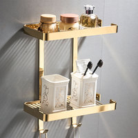 Bathroom Shelf Shower Shampoo Soap Cosmetic Shelves Brass Shower Rack Square Black/Gold Bathroom Storage Organizer Rack Holder
