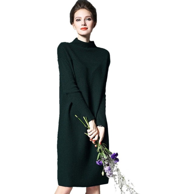 a2448958d76 TFGS 2017 Women s Casual Fashion Sweater Dress Autumn Winter Solid Long  Sleeve Knitting Dresses Plus Size Loose Ladies Dress