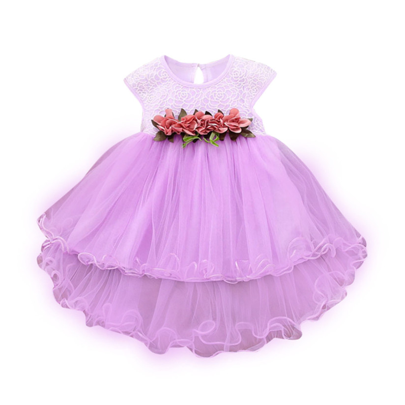 Girls Cotton Princess Dress Summer Toddler Kids Baby Girls Princess Party Wedding Pageant Sleeveless Tutu Flower Dresses  P4 toddler kids baby girls princess dress party pageant wedding dresses with waistband