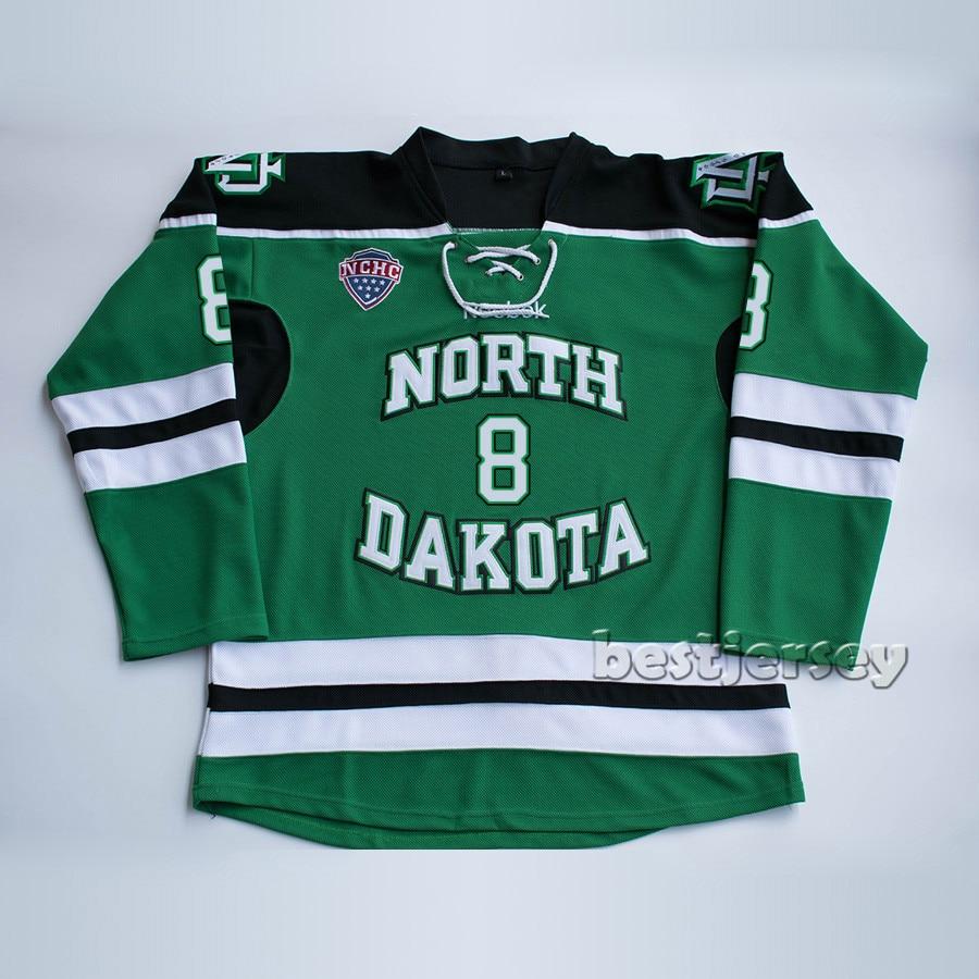 Kowell Северная Дакота Борьба сиу #8 Майк коммодор прошитой Хоккей Джерси