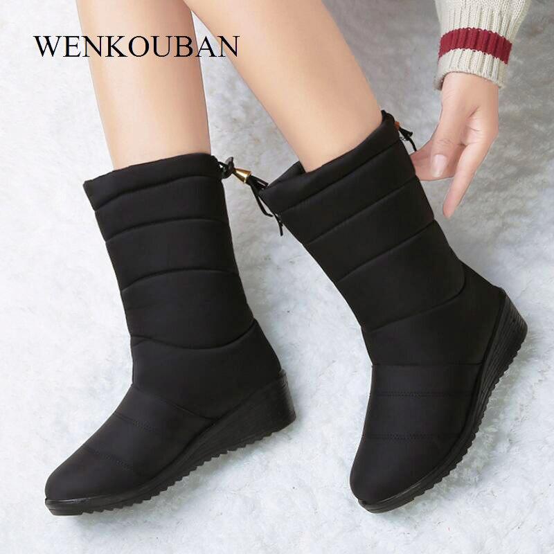Female Shoes Down-Boots Wedge Rubber Snow Warm Plush-Botas Waterproof Mid-Calf Women