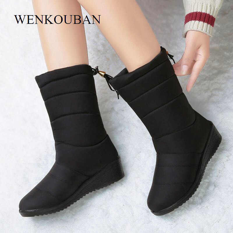 Waterproof Winter Boots Female Shoes Mid-Calf Down Boots Women Warm Ladies Snow Bootie Wedge Rubber Plush Botas Mujer 2020