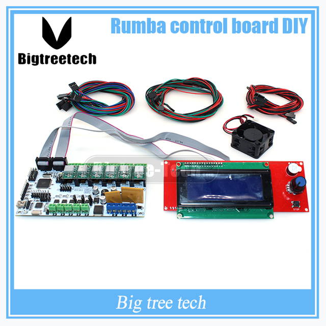 BIQU Румба совета управления DIY + кулер вентилятор + LCD 2004 контроллер дисплея + перемычка Румба управления настольные наборы для reprap 3d-принтер