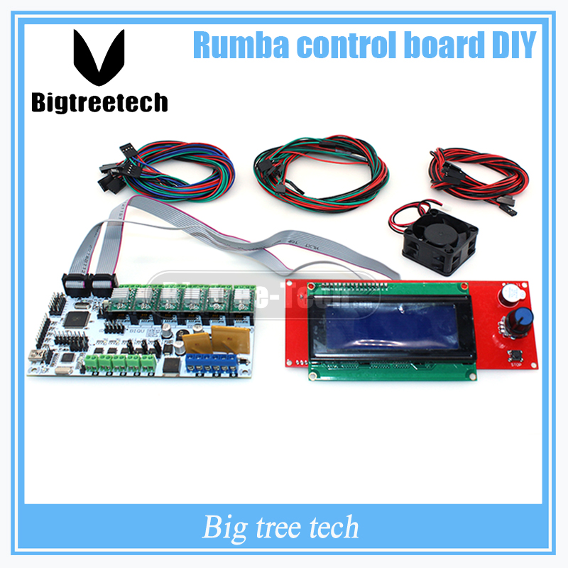 BIQU Rumba control board DIY+cooler fan +LCD 2004 controller display +jumper wire Rumba control board kits for reprap 3D printer 3d printer start kits mother board rumba board with 6pcs drv8825 stepper driver and 6pcs heatsink with free shipping