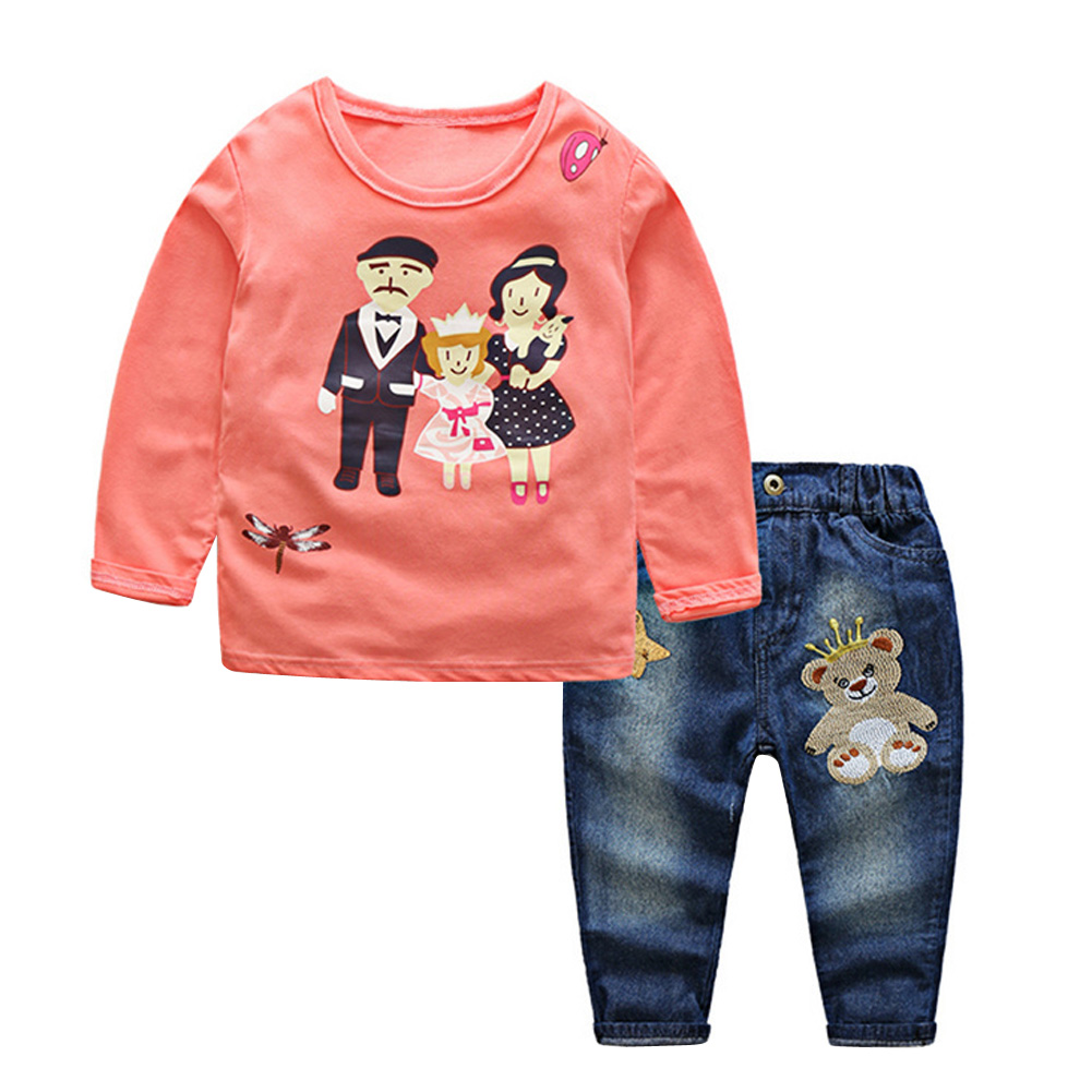 2017 New Kids Children Girls Clothes Sets Family Print T-shirt Tops+Denim Pants 2Pcs Outfit Set Girls Winter Clothes For 4-9Y family fashion summer tops 2015 clothers short sleeve t shirt stripe navy style shirt clothes for mother dad and children