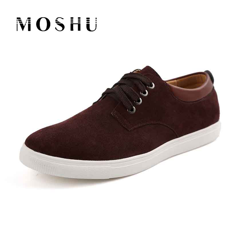 Fashion Men Genuine Leather Casual Shoes Gentlemans Suede Comfortable Lace Up Flat Shoes Plus Size 38-47 Zapatillas Hombre zero more fashion men shoes high quality cow suede leather men casual shoes lace up breathable shoes for men plus size 38 49