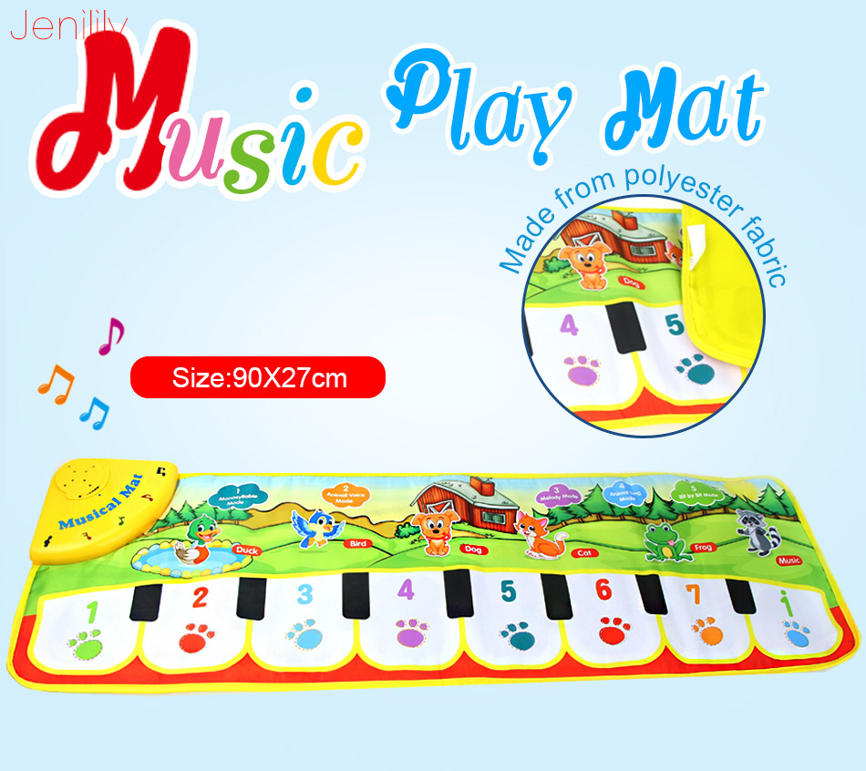 90 x 27cm Musical paly Mat With Animal Voice and One Key One Note Function Sound Adjustable Educational Toy Gift For Kids