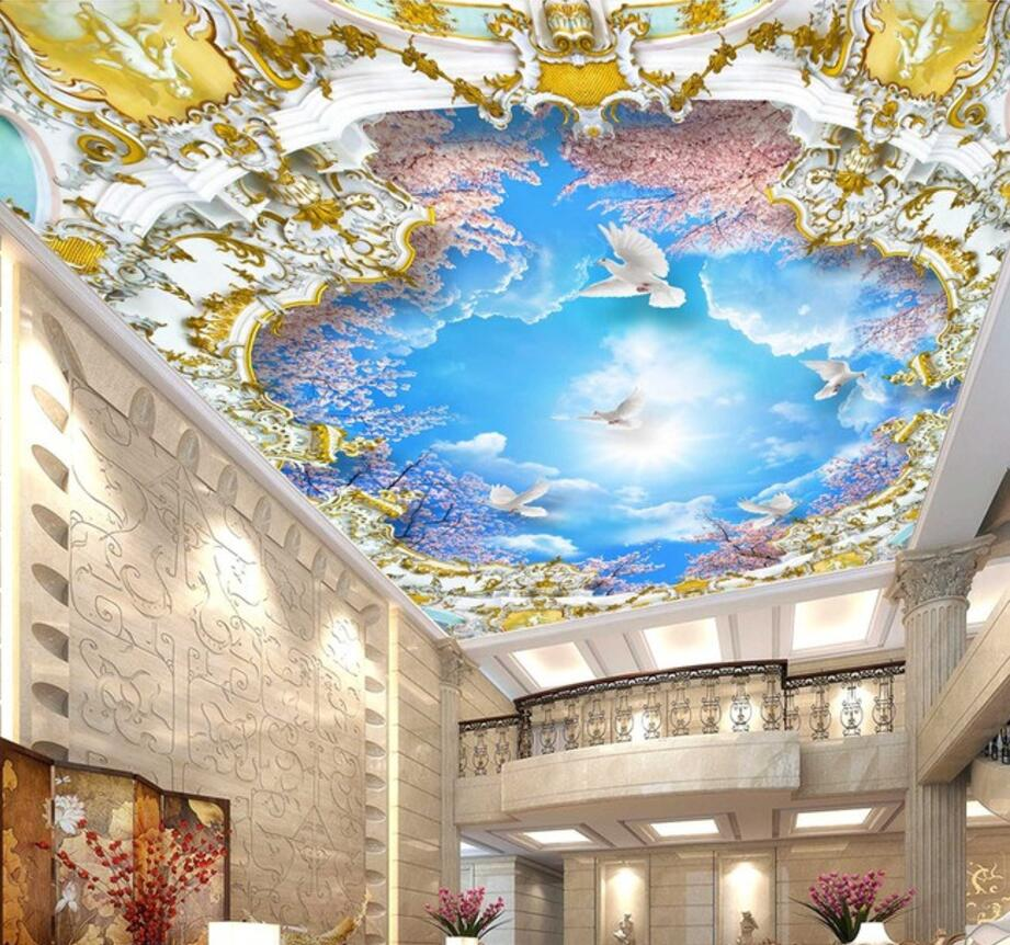 beibehang Custom Wallpaper Home Decorative Fresco Blue Sky White Cloud Sakura Tree 3D Zenith Mural Ceiling 3d wallpaper photo флизелиновые обои fresco kj sparkle 2542 20704