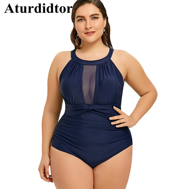 6e4b7c1789 Plus Size Swimsuit Women Mesh Insert Ruched Hater Cold Shoulder Big Large  Size Swimwear One Piece Bathing Suit Pool Bech Wear
