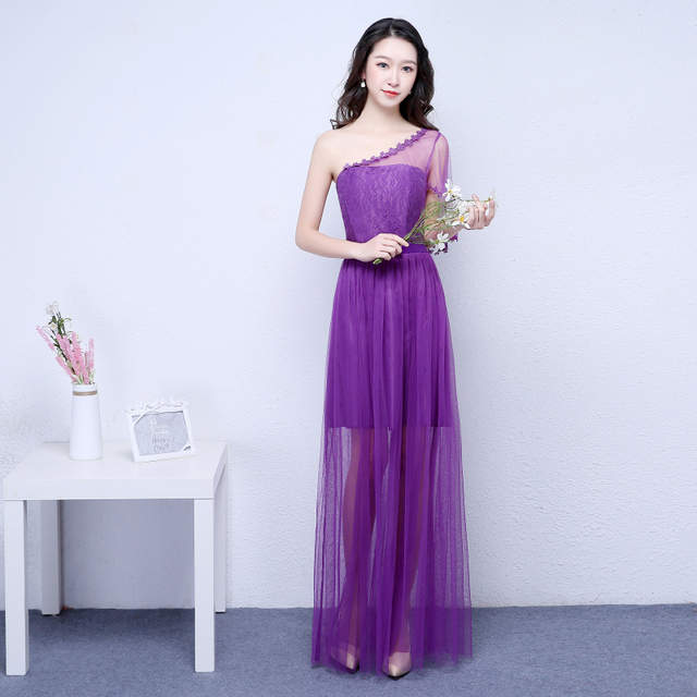 US $18.42 49% OFF|Purple bridesmaid dresses long for wedding guests sister  party formal dress plus size dress prom dresses real photo ROM80103-in ...