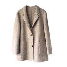 2019 de alta calidad de las mujeres abrigo de otoño e invierno de Cachemira de doble cara Retro Simple traje de rayas suelto mujer salvaje de lana pequeño abrigo
