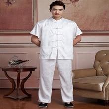 Модные китайские мужчины тай-чи форма традиционных шелковый атлас Кунг-фу костюм короткий рукав у-шу одежда SizeM L, XL, XXL XXXL