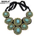 Fashion Hand Made Choker Statement Jewelry Acrylic Beaded Turquoise Inlay Collar Necklace Women Dress Charm Accessories CE4164