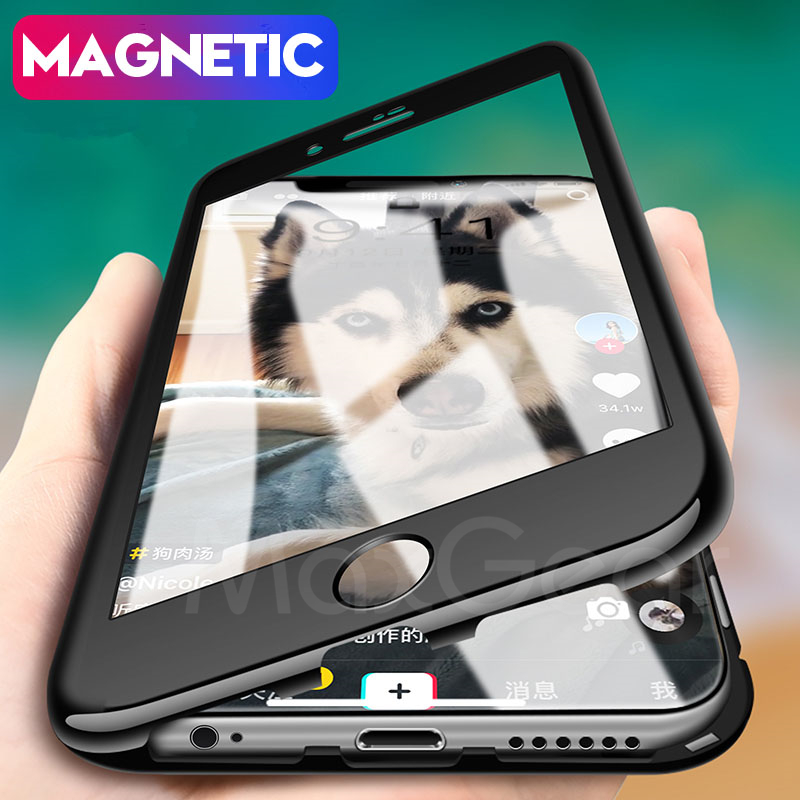half off 81dd6 3ccd3 US $7.19 20% OFF|MaxGear 360 Degree Magnetic Adsorption Case for iPhone X 8  PLUS 7 6 6S Plus Tempered Glass Magnet Case for IPhone 7 8 Full Cover-in ...