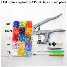 T3 / T5 / T8 star heart KAM plastic snap button wholesale children's baby button combination suit + hand tools