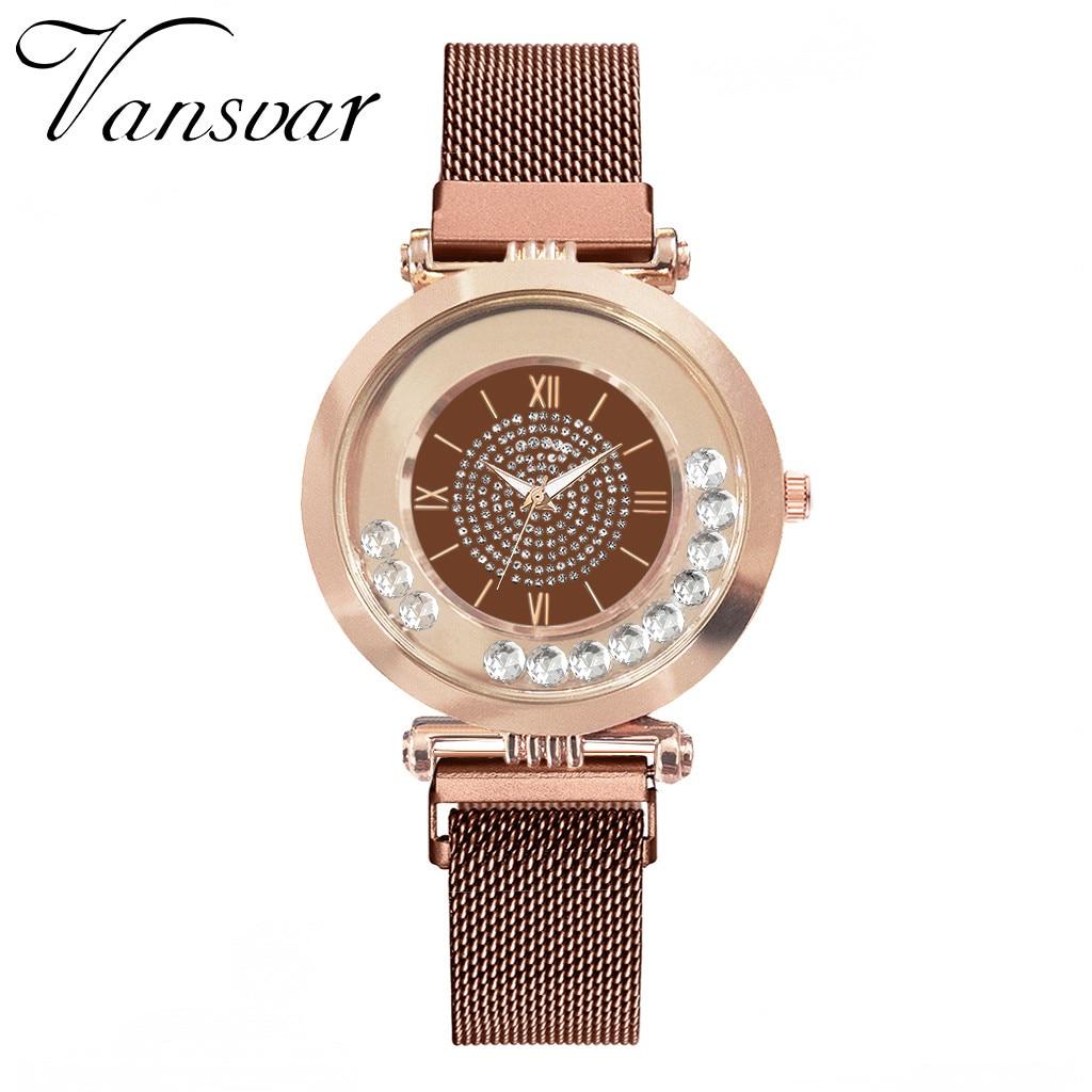 Vansvar Women's Watch Magnet-Buckle Full-Diamond-Watch Brand Kol Quartz Luxury Erkek