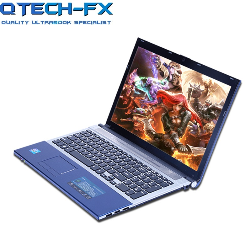 QTECH-FX i7 Gaming Notebook 15.6 8GB RAM SSD 120/240/320GB DVD Fast CPU Metal Laptop Business AZERTY Spanish Russian Keyboard