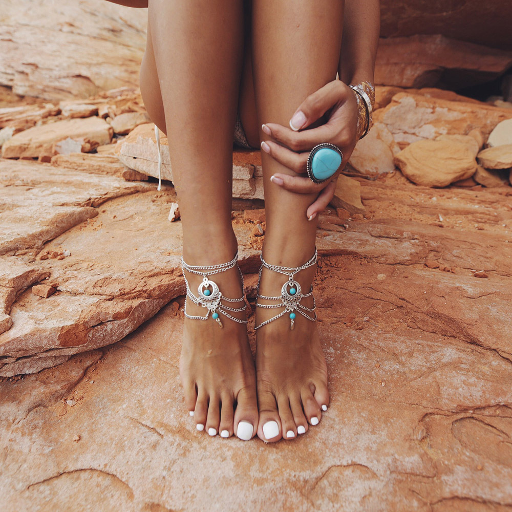 Boho Summer Style Multilayer Silver Chains Turquoise Beads Anklet Foot Natural Stone Flower Vintage Jewelry Bracelet Accessories