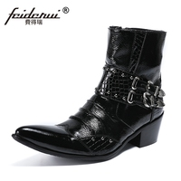 Plus Size Black Man High Heels Pointed Toe Handmade Shoes Patent Leather Studded Men's Cowboy Motorcycle Ankle Boots SL410