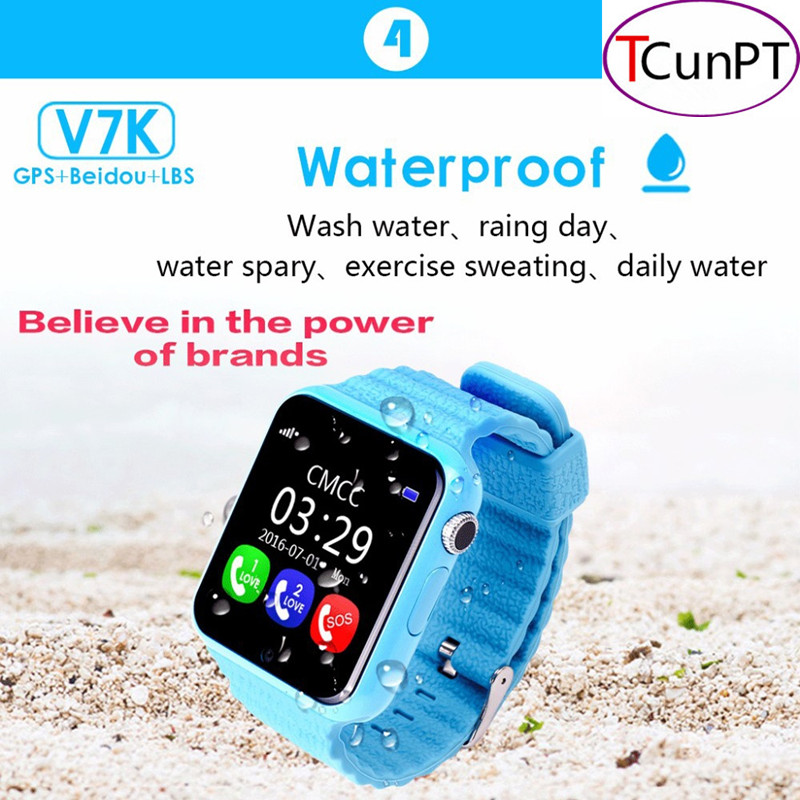 GPS Smart Watch Kids Waterproof Watch V7K with Camera/facebook SOS Call Location DevicerTracker Anti-Lost Monitor PK Q90/Q80/Q60 wireless service call bell system popular in restaurant ce passed 433 92mhz full equipment watch pager 1 watch 7 call button