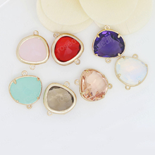 4PCS 15x18MM 24K Champagne Gold Color Plated Brass with Colourful Glass Beads 2 holes Connect Charms Accessories
