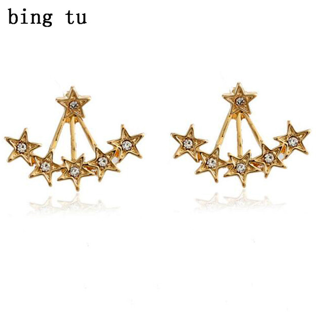 Bing Tu Front Back Double Sided Star Stud Earrings Fashion Women Gold Silver Color Crystal
