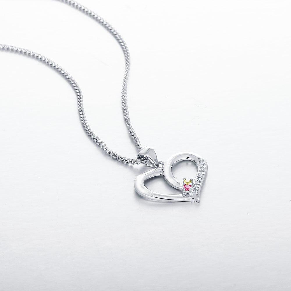Personalisierte Halsketten 925 Sterling Silber Herzform Anhänger - Edlen Schmuck - Foto 4
