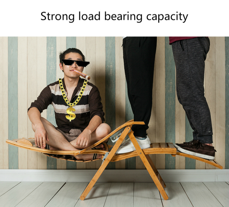 Купить с кэшбэком Household Lounge Chair Chinese Foldable Bamboo Stable Rocking Chair with Footrest Adjustable Old People Lunch Break Chair