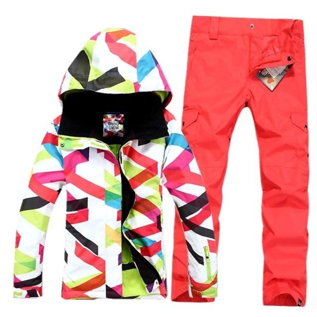 da6e36b990 GSOU SNOW Cool winter women jackets brand ski wear outlet female ski jackets  and pants