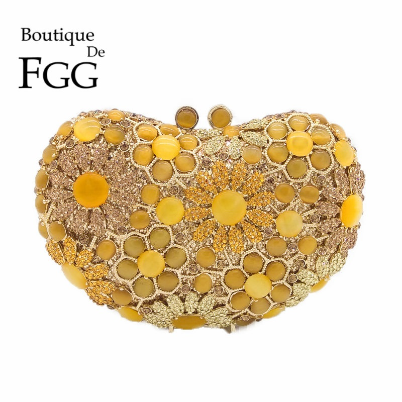 Boutique De FGG Yellow Diamond Opal Heart Shape Women Flower Crystal Clutch Evening Bags Bridal Clutches
