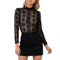 TT312 Sexy High Neck Long Sleeve Lace Floral Embroidery Transparent Geometry Women Black Lace Blouse Top