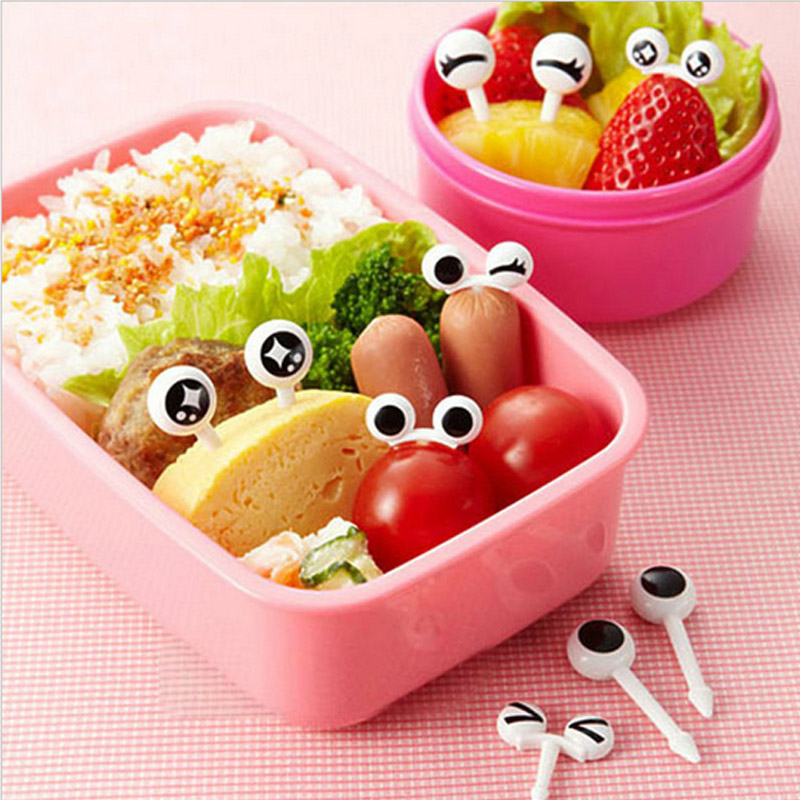 10Pcs Lovely Reusable eye Cartoon Fruit Fork Sign Toothpick Bento Lunch Decorative @LS