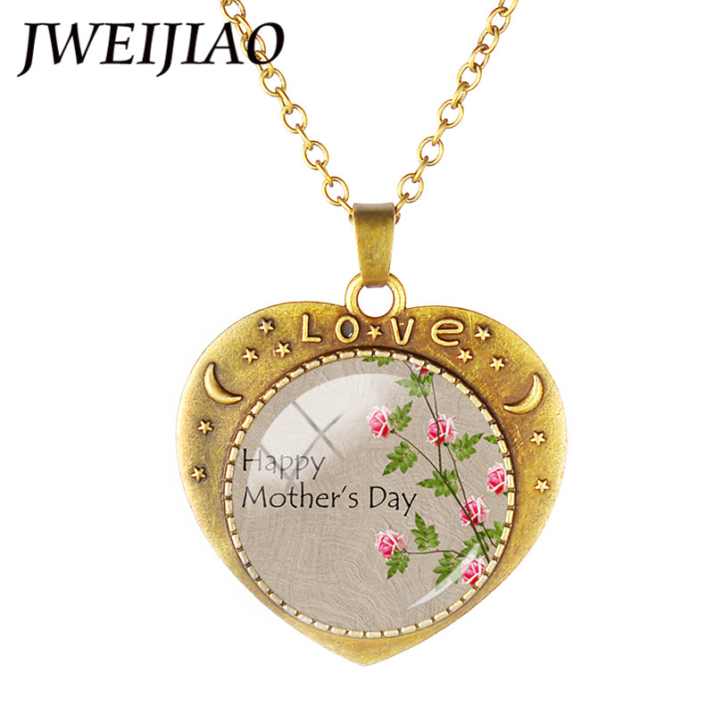 JWEIJIAO New Dad /Mom Love Heart Necklace Glass Dome Heart Shaple Charms For Family Members Father's /Mother Day'S Gift A971 image