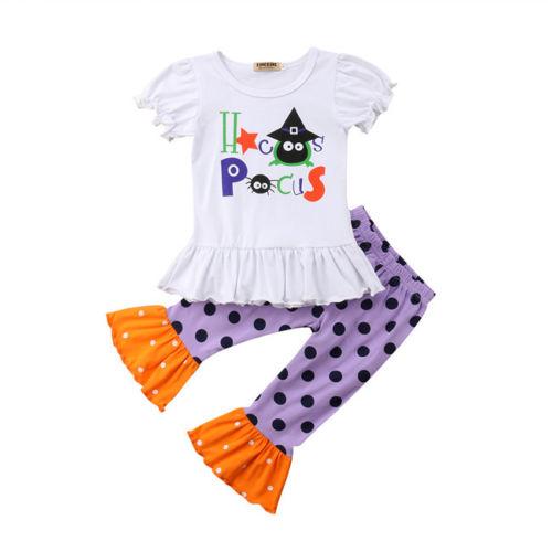 Halloween Infant Baby Girls Kids Short Sleeve T-shirt Tops Polka Dot Loose Pants Outfits Clothes Set