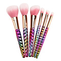6pcs pink Makeup Brushes Set honeycomb rainbow handle Cosmetic Foundation Eyshadow Blusher Powder Brush beauty tools kits