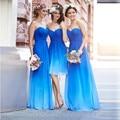 Bridesmaid Dresses Blue Long Sweetheart Cheap Chiffon Bridesmaid Dresses 2016 Dress For Wedding Lace-up Back Vestido Madrinha