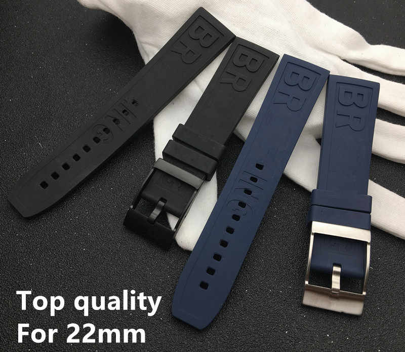 New Caoutchouc Rubber silicone watch band 22mm Black Dark Blue Watchband Bracelet For navitimer/avenger/Breitling strap logo on