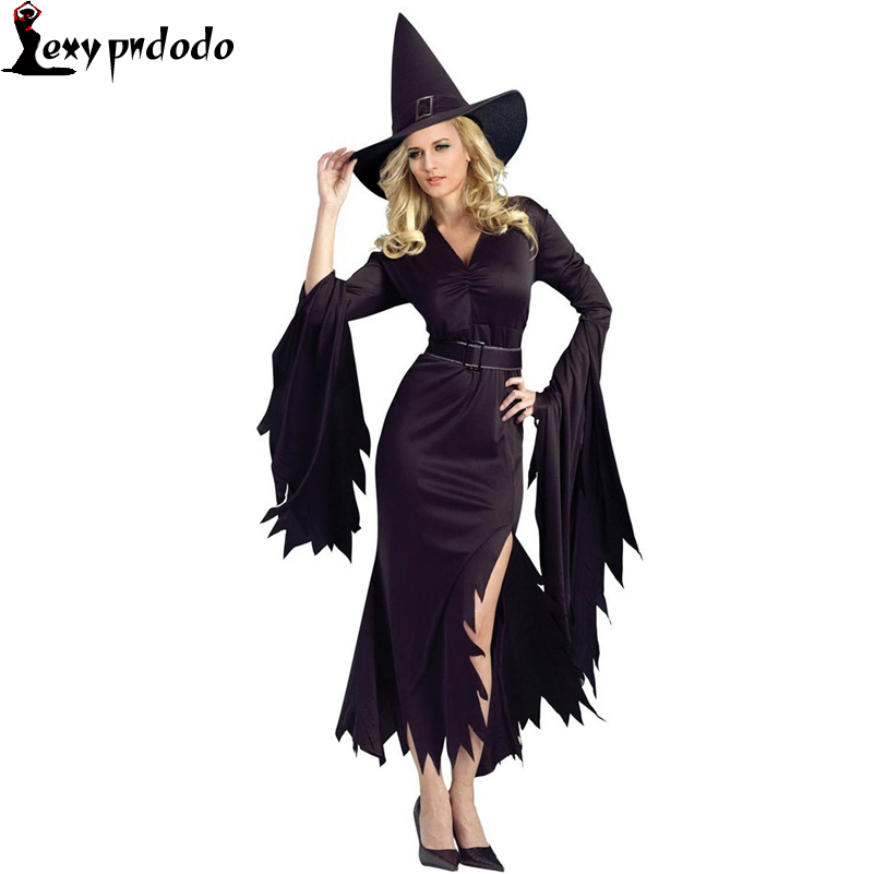Sexy Halloween Costume For Women 2016 All Black Gothic Witch Costume Long Sleeve Cosplay Fancy Dress With Hat LC8983 Cosplay